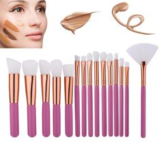 15 Pcs Makeup Set Powder Foundation Eye shadow Eyeliner Lip Cosmetic Brushes Kit Makeup Brush #Affiliate
