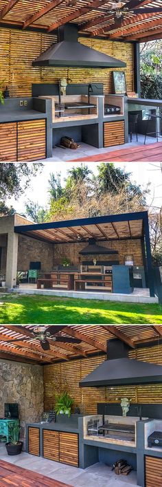 Barbecue cellulaire en béton avec portes en bois de pin d #barbecue #beton