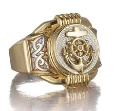 Men's Anchor Ring with Ships Wheel in 14k Two Tone Gold only $398.00 - Mens Rings