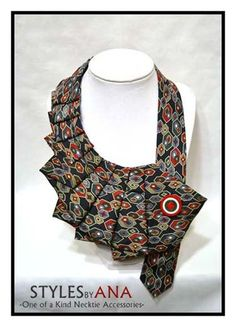 NEW- Multicolored- Fabric Necktie Necklace Unique Clothing Accessory, Hand Made Upcycled High Fashion Fall Accessory 100% Silk by stylesbyana on Etsy https://www.etsy.com/listing/172176918/new-multicolored-fabric-necktie-necklace
