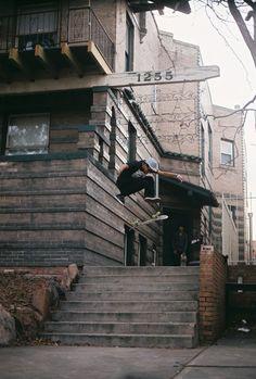 Skate · Fakie Three-Flip · Decks · Spot · Stairs · Photo · Grip · Board · Tricks · Skateboarding