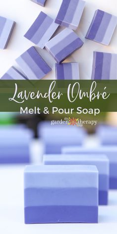 Lovely Lavender Ombre Melt and Pour Soap - Garden TherapyYou can find Lavender soap and more on our website.Lovely Lavender Ombre Melt and Pour Soap - Garden Therapy Handmade Soap Recipes, Soap Making Recipes, Handmade Soaps, Diy Soaps, Diy Savon, Soap Cutter, Soap Melt And Pour, Decorative Soaps, Glycerin Soap