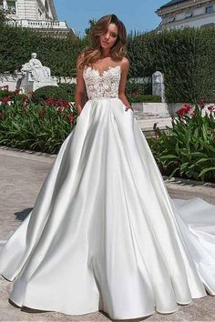 Satin Neckline A-line Wedding Dress With Pockets Lace Appliques-Pgmdress