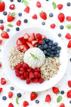 Combine cottage cheese, fruit and nuts to make a breakfast bowl.
