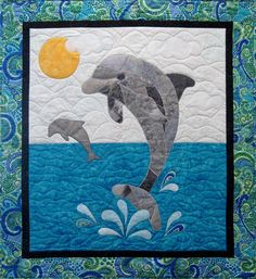 Splash the Dolphin Quilt Pattern Wallhanging Quilt Baby, Baby Quilt Patterns, Cute Quilts, Boy Quilts, Mini Quilts, Ocean Quilt, Beach Quilt, Beach Themed Quilts, Landscape Art Quilts
