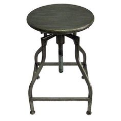 Infusing minimalism with industrial design, this stool is both stylish and functional. Its distressed wood adjustable height seat is supported by four antique copper powder coated angular legs circled with a perch for added comfort.