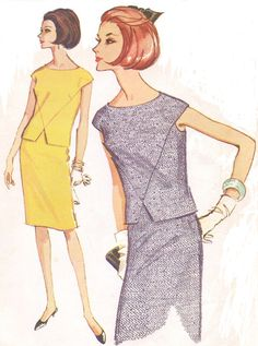 Vintage McCalls Sewing Pattern 7782 Womens Cap Sleeves Two Piece Dress with Front Detail Size 16 Bust 36 Dress Patterns Uk, Mccalls Sewing Patterns, Vintage Sewing Patterns, Vintage Tea Dress, Vintage Dresses, 1960s Dresses, 1960s Fashion, Vintage Fashion, Fashion Sewing