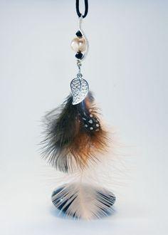 Pendentif perle de verre wire wrapping, plumes et breloque feuille : Pendentif par 1-fil-2-perles