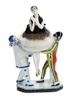 German Porcelain Pierrette as Powder Puff with Pierrot and Harlequin