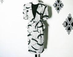 Vintage 80s Peplum Ruffle Office Dress Black Gray Paint Swath Print Frederick's S M by PopFizzVintage on Etsy