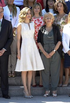 Queen Letizia of Spain and Madrid Mayor Manuela Carmena attend the XXV FEDEPE awards ceremony at Retiro Park on July 26 2016 in Madrid Spain