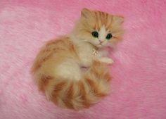 Needle Felted Cute Fluffy Kitten Miniature by LilyNeedleFelting, ¥40000