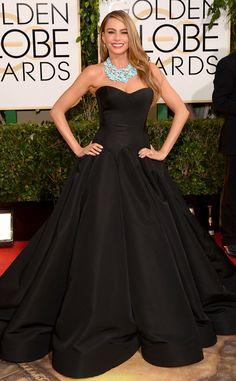 Sofia Vergara in an stunning ball gown from Zac posen, she looks so glamorous   from 2014 Golden Globes: Red Carpet Arrivals | E! Online