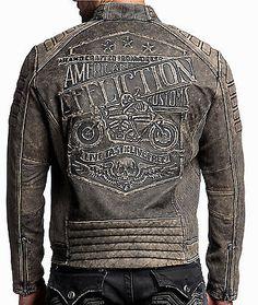 Affliction-Cabeza De Hierro-Para hombre de cuero BIKER JACKET Moto-Vintage Negro Lavado