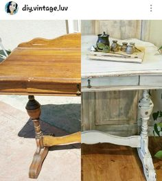 Diy before and after.  Chalk painted antique desk .. follow IG @diy.vintage.luv