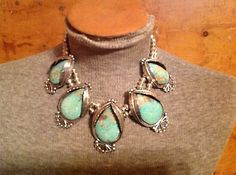 TURQUOISE NATIVE AMERICAN LARGE FIVE STONE NAVAJO SQUASH BLOSSOM NECKLACE NM AZ