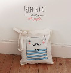 "Get fancy with this ""French Cat"" tote bag from Clutch, Tote Purse, Style Marin, Custom Bags, Cotton Bag, Canvas Tote Bags, My Bags, Screen Printing, Creations"