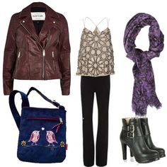 lua bird velvet bag leather jacket wedge boots and purple leopard scarf