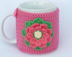 Your place to buy and sell all things handmade - crochet mug cozy Crochet Mug Cozy, Crochet Mask, Cute Crochet, Mug Cozy Pattern, Crochet Potholder Patterns, Burlap Silverware Holder, Crochet Kitchen, Cozy Cover, Tapestry Crochet