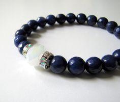 Gemstone Bracelet Blue Jade Stretch Bracelet by TwigsAndLace, $40.00