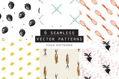 Food Seamless Patterns Set of 6 by Youandigraphics on Food Patterns, Textures Patterns, Vector Pattern, Pattern Design, Graphic Patterns, Graphic Design, Frame Template, Templates, Watercolor Effects