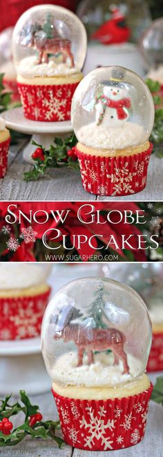 Snow Globe Cupcakes - the BEST Christmas cupcakes! Made with gelatin bubbles, so the entire cupcake is edible! | From SugarHero.com