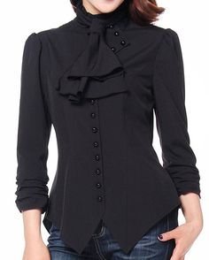 -Pearl Goddess- Pearl Button Victorian Gothic Vintage Style Black Blouse at Amazon Women's Clothing store:  https://www.amazon.com/gp/product/B0110A6LDS/ref=as_li_qf_sp_asin_il_tl?ie=UTF8&tag=rockaclothsto_gothic-20&camp=1789&creative=9325&linkCode=as2&creativeASIN=B0110A6LDS&linkId=4c490516653fc6daf9a949af10438d4a