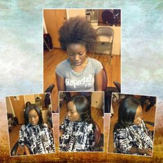 Natural hair sew-in, no relaxer used to style this hair