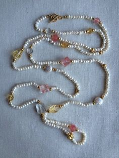 Items similar to Freshwater Pearl, Citrine, and Strawberry Quartz Lariat Necklace on Etsy Shell Jewelry, Cute Jewelry, Pearl Jewelry, Beaded Jewelry, Jewelery, Jewelry Necklaces, Beaded Bracelets, Handmade Wire Jewelry, Handmade Jewelry Designs