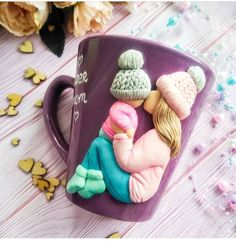 Custom Mother and Kid MugMug for Mother Gift for Son Mom Polymer Clay Figures, Cute Polymer Clay, Polymer Clay Dolls, Polymer Clay Charms, Clay Art Projects, Clay Crafts, Diy And Crafts, Clay Wall Art, Clay Cup