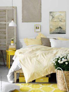 Decorar habitaciones con color amarillo #Decoracion #HomeDecor #Color #Dormitorio