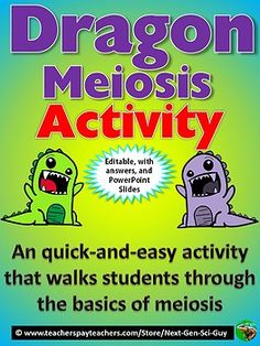 Dragon Meiosis Activity: Students simulate Meiosis Using Dragons – NGSS - Science High School Biology, Biology Teacher, Teaching Biology, Middle School Science, Ap Biology, Middle School Activities, Science Activities For Kids, Science Classroom, Science Ideas