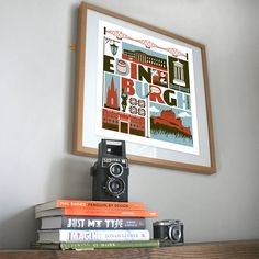 Typographic print showcasing the beautiful city of Edinburgh.The print includes several icons of the area, including the castle, Scott monument, Playhouse, a whiskey barrel and even a panda from the zoo! Created in a dark sage, slate blue and dark red colourway, this print is perfect for people who live in Edinburgh, or would like a reminder of this special city.350gsm thick paperMeasures 420mm x 297mm (actual printed area measures 265mm x 265mm). Sold unframed.