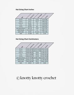 Knotty Knotty Crochet: New and improved hat sizing chart FREE!