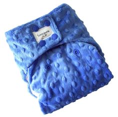 Cobalt Blue Minky One Size Cloth Diaper with PUL Snaps - Newborn Toddler Boys
