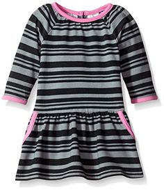 Marmellata BabyGirls Black and Pink Striped Knit Dress Multi 24 Months ** Want to know more, click on the image. (This is an affiliate link) #BabyGirlDresses