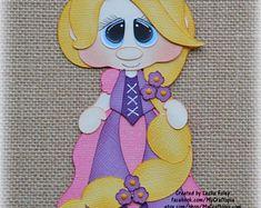 Rapunzel Disney princesa Premade Scrapbooking adorno papel Piecing