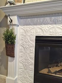 Pin for Later: Farmhouse fireplace decor ideas. Fireplace Makeover with Tin Tile. Fireplace Makeover with Tin Tile. Fireplace Tile Surround, Fireplace Update, Small Fireplace, Farmhouse Fireplace, Home Fireplace, Faux Fireplace, Fireplace Remodel, Fireplace Surrounds, Fireplace Design