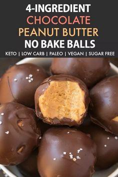 No Bake Keto Chocolate Peanut Butter Balls (Paleo, Vegan, Low Carb)