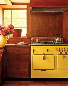 yellow stoved kitchen