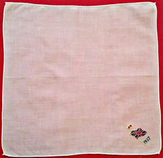"VINTAGE EMBROIDERY THE UNION JACK GREAT BRITAIN 1937 COTTON 11"" HANDKERCHIEF #Unbranded #StateSouvenir"