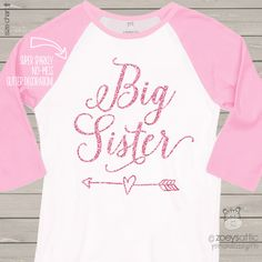 Big sister glitter shirt, sparkle heart and arrow raglan shirt