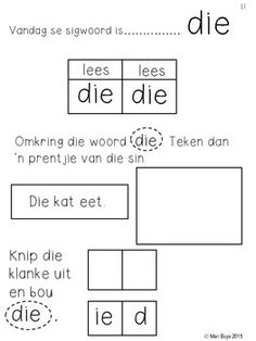Afrikaanse Sigwoorde Graad 1 Stel 1 Werkkaarte & Flitskaarte Grade R Worksheets, Afrikaans Language, Kindergarten Lesson Plans, School Lessons, Classroom Activities, School Projects, Kids Learning, Elementary Schools, Homeschool