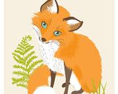 Items similar to Fox Playing with birds limited print ( 30x40cm) on Etsy