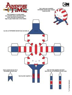 Make for Christmas tree! Anime Crafts, 3d Paper Crafts, Paper Toys, Adventure Time Crafts, Adventure Time Parties, Peppermint Butler, Print Templates, Paper Templates, Paper Models