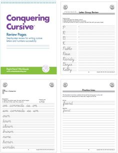 Handwriting Review Pages: Student practices writing letters within letter groups; lower case letters are practiced first, followed by  upper case letters and then numerals; student works through additional handwriting drills  on specific review pages, such as connecting o-to-m and o-to-n, bridge letters b o v w, 26 synonym pairs, days of the week sentences and practice lines. Comprehensive Review! #handwriting #cursive