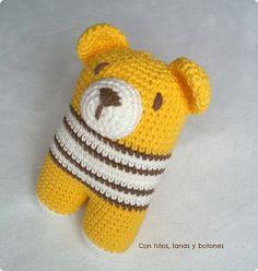 Con hilos, lanas y botones: Oso Donato amarillo