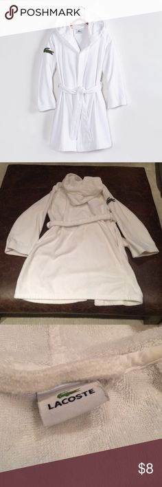 Lacoste Women's Smash Terry Robe 100% cotton terry robe.  One size, white in color, hooded robe.  Good condition, slight discoloring near inside collar, blue pen stain on inside pocket. Lacoste Intimates & Sleepwear Robes