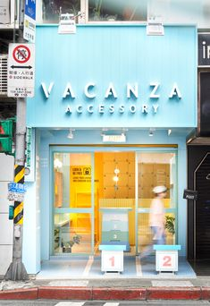 In order to attract the attention of the pedestrians, design studio choose a series of similar colors and materials extending from outside in, to design the new VACANZA accessories shop in Taipei. Cafe Shop Design, Cafe Interior Design, Store Design, Accessories Store, Store Fronts, Retail Design, Restaurant Design, Stores, Coffee Shop