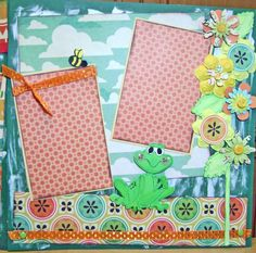 Scrapbook Page KIT Frog Summer Paper Piecing by kitsnbitscraps, $16.99